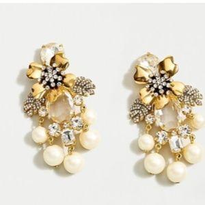 J crew Pave' winter flower cluster earrings